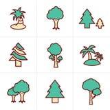 Geplaatste de Boompictogrammen van de pictogrammenstijl Stock Afbeeldingen