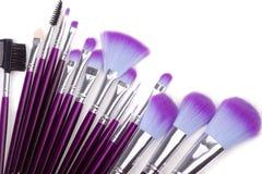 Geplaatste de borstels van de make-up Stock Afbeeldingen