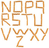 Geplaatste de brieven van deegwaren royalty-vrije stock afbeeldingen