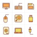 Geplaatste de Computerpictogrammen van de pictogrammenstijl Stock Foto's