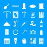 Geplaatste de controlepictogrammen van de contraceptiedag, eenvoudige stijl stock illustratie