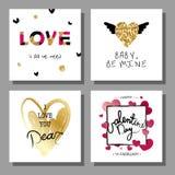 Geplaatste de Dag creatieve artistieke hand getrokken kaarten van Valentine ` s Vector illustratie Stock Afbeeldingen