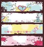 Geplaatste de dag grunge banners van de valentijnskaart Royalty-vrije Stock Afbeeldingen