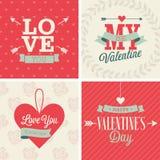 Geplaatste de dag van Valentine ` s - vier kaarten Vectorliistration Stock Fotografie