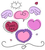 Geplaatste de dag vectorharten van de valentijnskaart Royalty-vrije Stock Foto's