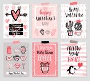 Geplaatste de Dagkaart van Valentine ` s - hand getrokken stijl met kalligrafie Royalty-vrije Stock Foto