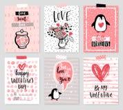 Geplaatste de Dagkaart van Valentine ` s - hand getrokken stijl met kalligrafie Royalty-vrije Stock Afbeelding