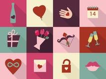 Geplaatste de Dagkaarten van Valentine ` s De symbolen van hartpictogrammen, hart ter beschikking, gehoorde oneindigheid, de inza Stock Foto's