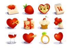 Geplaatste de dagpictogrammen van valentijnskaarten Stock Afbeelding