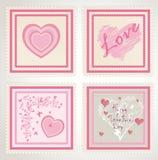 Geplaatste de dagzegels van de valentijnskaart `s Stock Afbeelding