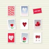 Geplaatste de Dagzegels van Valentine Royalty-vrije Stock Afbeeldingen