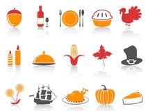 Geplaatste de dankzeggingspictogrammen van de oranje en rode kleurenreeks vector illustratie