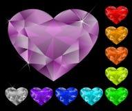 Geplaatste de diamanten van het hart Stock Fotografie