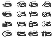 Geplaatste de dienstpictogrammen van de auto Stock Fotografie