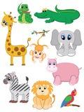 Geplaatste de dieren van de wildernis stock illustratie
