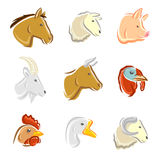 Geplaatste de dieren van het landbouwbedrijf Vector Royalty-vrije Stock Foto