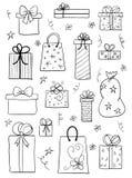 Geplaatste de dozen van de gift Hand getrokken vectorschets Stock Afbeelding