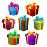 Geplaatste de dozen van de gift vector illustratie