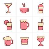 Geplaatste de Drankpictogrammen van de pictogrammenstijl, Vectorontwerp Stock Foto
