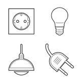 Geplaatste de Elektriciteitspictogrammen van de lijnkunst stock illustratie