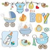Geplaatste de elementen van de de jongensdouche van de baby Royalty-vrije Stock Afbeeldingen