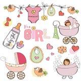 Geplaatste de elementen van de het meisjesdouche van de baby Royalty-vrije Stock Foto's