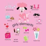Geplaatste de Elementen van Girly Royalty-vrije Stock Foto's