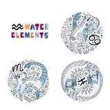 Geplaatste de Elementen van het dierenriemwater royalty-vrije illustratie