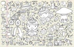 Geplaatste de Elementen van het Notitieboekje van de Schets van de krabbel Stock Afbeeldingen