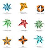 Geplaatste de elementen van het ontwerp. 3D sterren. Stock Afbeelding