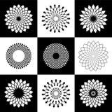 Geplaatste de elementen van het ontwerp Abstracte decoratieve geometrische pictogrammen vector illustratie