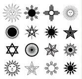 Geplaatste de elementen van het zonwapenschild, vectorillustratie Royalty-vrije Stock Foto