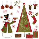Geplaatste de elementen van Kerstmis Stock Afbeeldingen