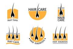 Geplaatste de emblemen van de haarfollikeldiagnostiek Stock Fotografie