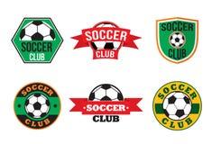 Geplaatste de emblemen van de voetbalclub Stock Foto