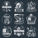 Geplaatste de Emblemen van het mijnbouwbedrijf royalty-vrije illustratie