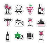 Geplaatste de etiketten van de wijn - glas, fles, restaurant, voedsel Royalty-vrije Stock Afbeelding