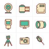 Geplaatste de Fotografiepictogrammen van de pictogrammenstijl Stock Afbeeldingen