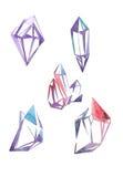 Geplaatste de gemmen van de waterverf De schetsen van manierjuwelen De Stijl van de mode Kostbare kristallenillustratie Royalty-vrije Stock Fotografie