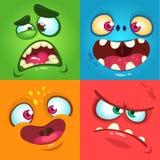 Geplaatste de gezichten van het beeldverhaalmonster Vectorreeks van vier Halloween-monstergezichten stock afbeeldingen