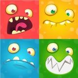 Geplaatste de gezichten van het beeldverhaalmonster Vectorreeks van vier Halloween-monstergezichten royalty-vrije stock afbeelding