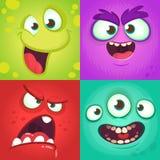 Geplaatste de gezichten van het beeldverhaalmonster Vectorreeks van vier Halloween-monstergezichten met verschillende uitdrukking stock afbeeldingen