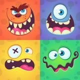 Geplaatste de gezichten van het beeldverhaalmonster Vectorreeks van vier Halloween-monstergezichten met verschillende uitdrukking stock foto