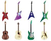 Geplaatste de gitaren van de kleur Stock Afbeeldingen