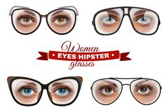 Geplaatste de Glazen van Hipstervrouwen stock illustratie