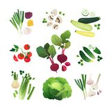 Geplaatste de groenten van de klemkunst Royalty-vrije Stock Afbeeldingen