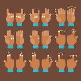 Geplaatste de handenpictogrammen van het Multitouchgebaar Stock Afbeelding