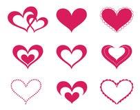 Geplaatste de harten van de liefde Stock Afbeelding