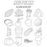 Geplaatste de herfst de pictogrammen, schetsen stijl Royalty-vrije Stock Afbeelding
