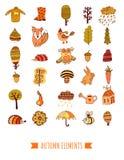 Geplaatste de herfstkrabbels, vectorbomen, blad, paraplu en dieren stock illustratie